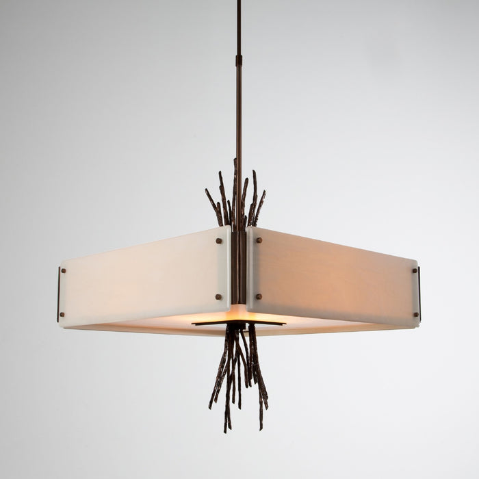 Ironwood Square Chandelier - Oiled Rubbed Bronze/Ivory Wisp
