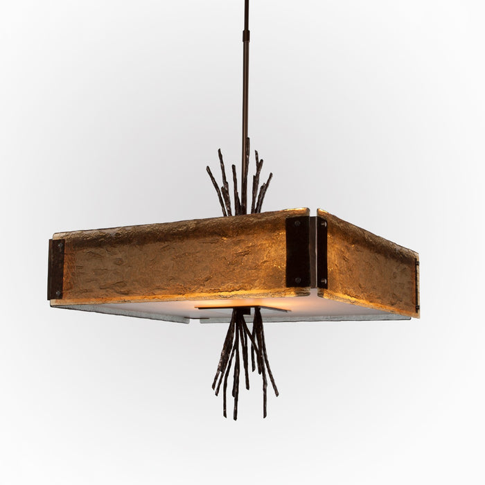 Ironwood Square Chandelier - Oiled Rubbed Bronze/Bronze Granite