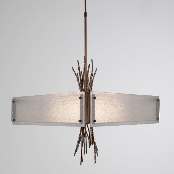 Ironwood Square Chandelier - Oiled Rubbed Bronze/Frosted Granite