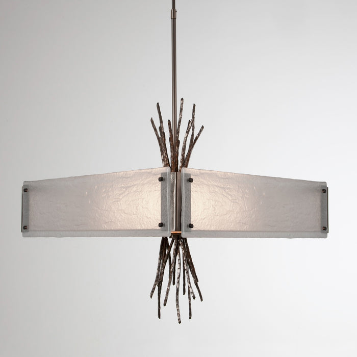 Ironwood Square Chandelier - Satin Nickel/Frosted Granite