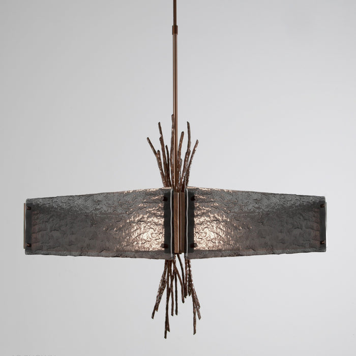 Ironwood Square Chandelier - Oiled Rubbed Bronze/Smoke Granite