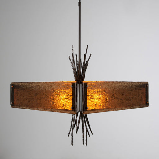 Ironwood Square Chandelier - Gunmetal/Bronze Granite