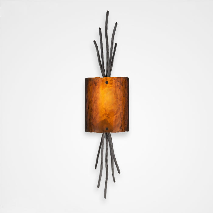 Ironwood Thistle Glass Wall Sconce - Gunmetal/Bronze Granite