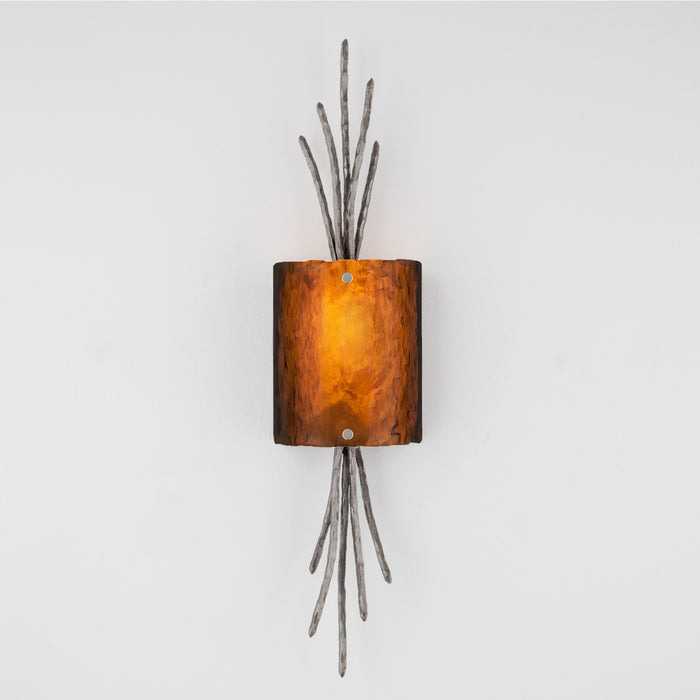 Ironwood Thistle Glass Wall Sconce - Satin Nickel/Bronze Granite