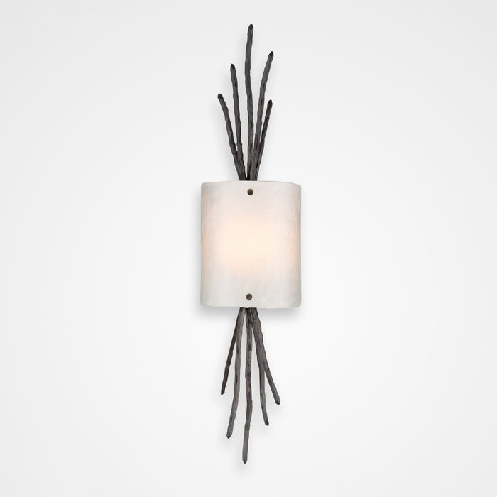 Ironwood Thistle Glass Wall Sconce - Gunmetal/Frosted Granite