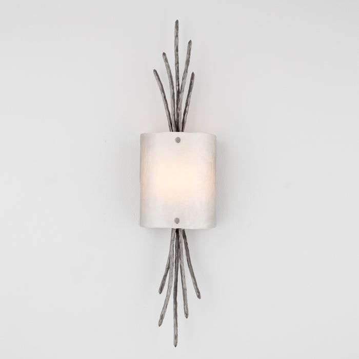 Ironwood Thistle Glass Wall Sconce - Satin Nickel/Frosted Granite