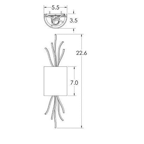 Ironwood Thistle Glass Wall Sconce - Diagram