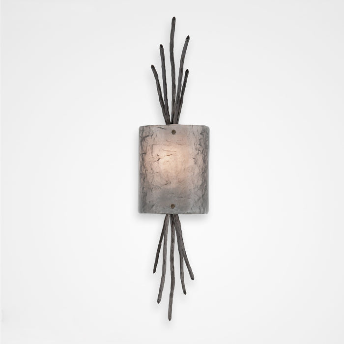 Ironwood Thistle Glass Wall Sconce - Gunmetal/Smoke Granite