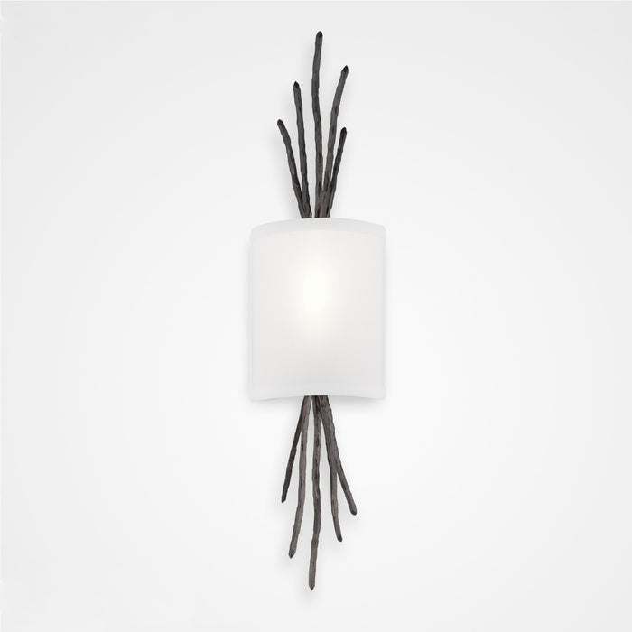 Ironwood Thistle Linen Wall Sconce - Gunmetal/Linen Shade