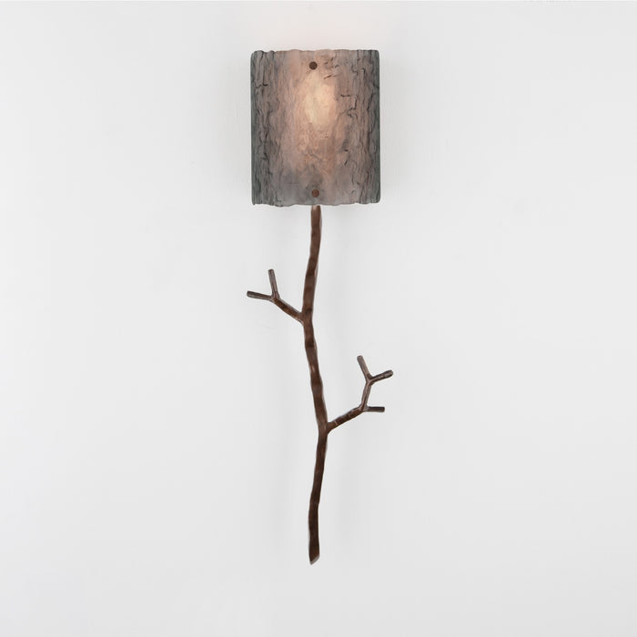 Ironwood Twig Glass Wall Sconce - Oiled Rubbed Bronze/Smoke Granite