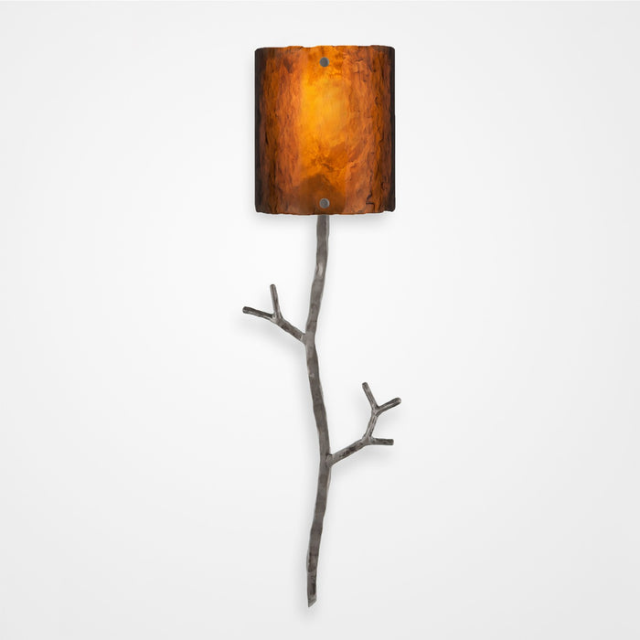 Ironwood Twig Glass Wall Sconce - Satin Nickel/Bronze Granite