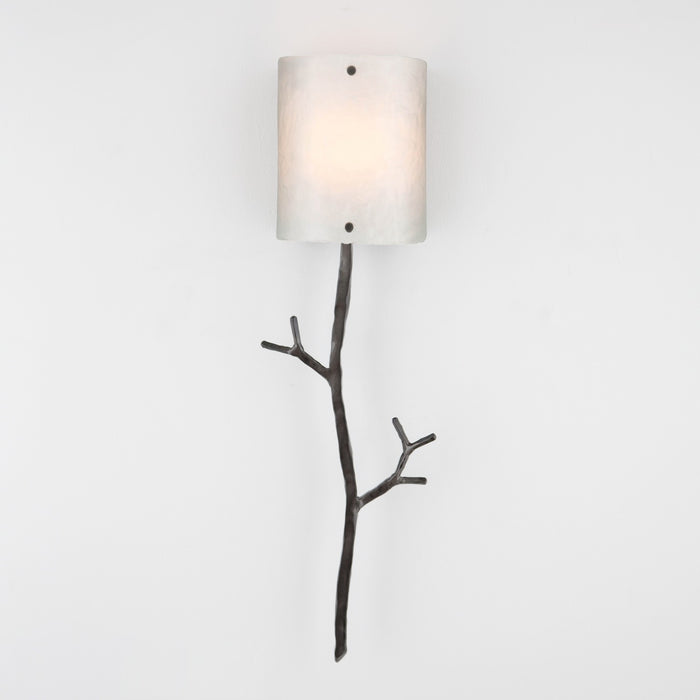 Ironwood Twig Glass Wall Sconce - Gunmetal/Frosted Granite