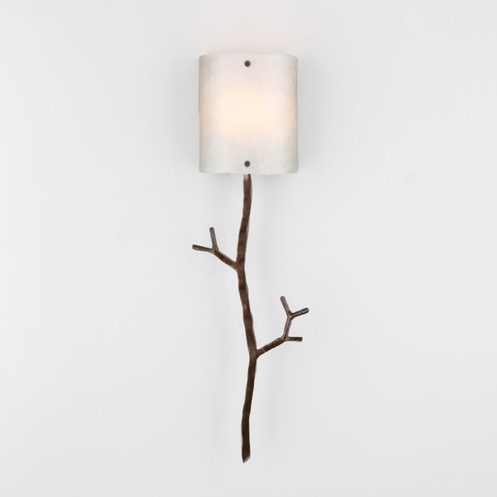 Ironwood Twig Glass Wall Sconce - Oiled Rubbed Bronze/Frosted Granite