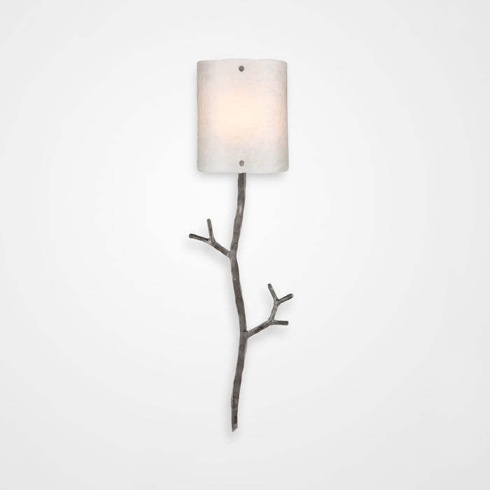 Ironwood Twig Glass Wall Sconce - Satin Nickel/Frosted Granite