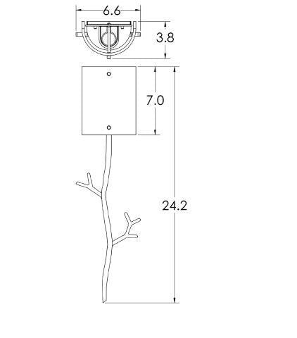 Ironwood Twig Glass Wall Sconce - Diagram