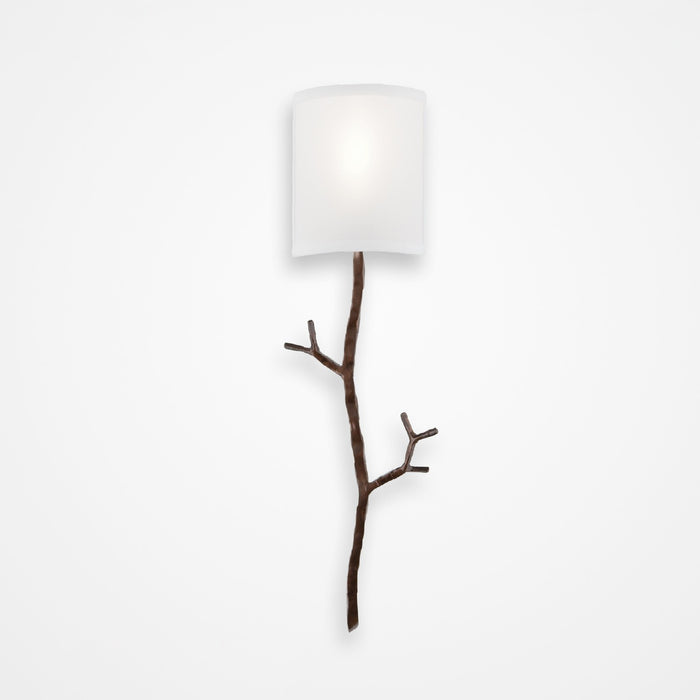 Ironwood Twig Linen Wall Sconce - Oiled Rubbed Bronze/Linen Shade
