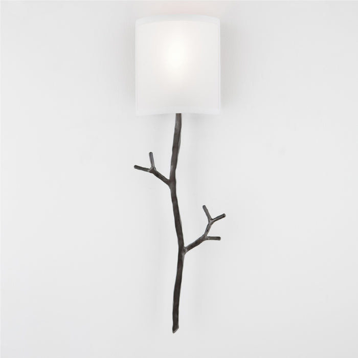 Ironwood Twig Linen Wall Sconce - Gunmetal/Linen Shade