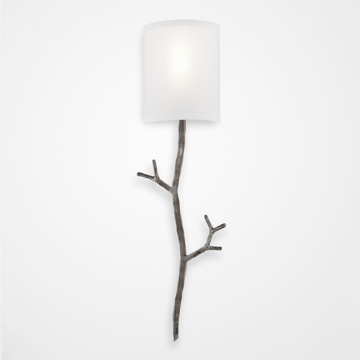 Ironwood Twig Linen Wall Sconce - Satin Nickel/Linen Shade
