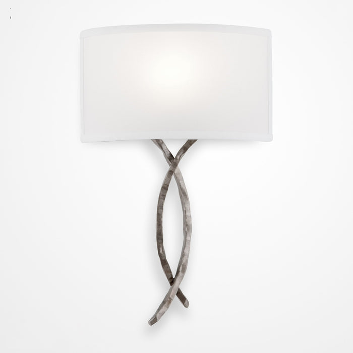 Ironwood Twist Linen Wall Sconce - Satin Nickel/Linen Shade