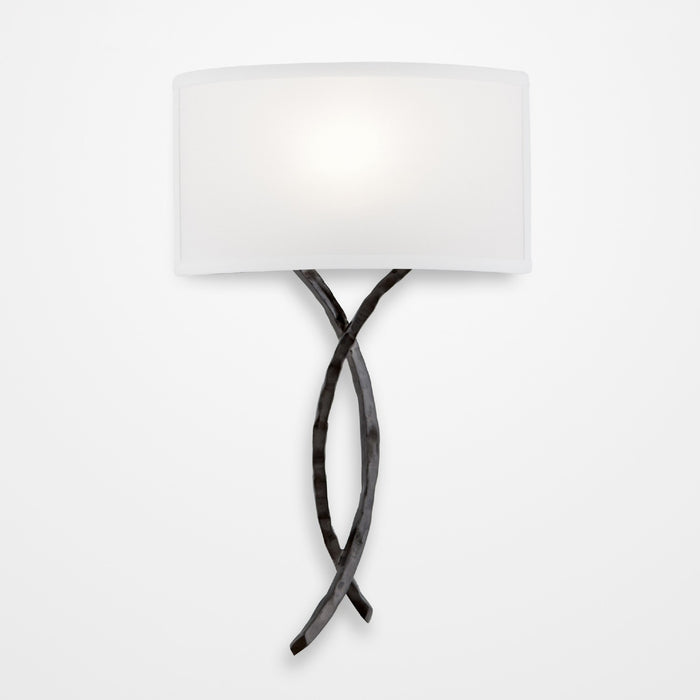 Ironwood Twist Linen Wall Sconce - Gunmetal/Linen Shade