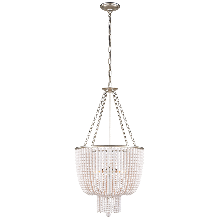 Jacqueline Chandelier - Burnished Silver Leaf/White Acrylic