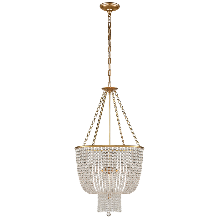Jacqueline Chandelier - Hand-Rubbed Antique Brass/Clear Glass