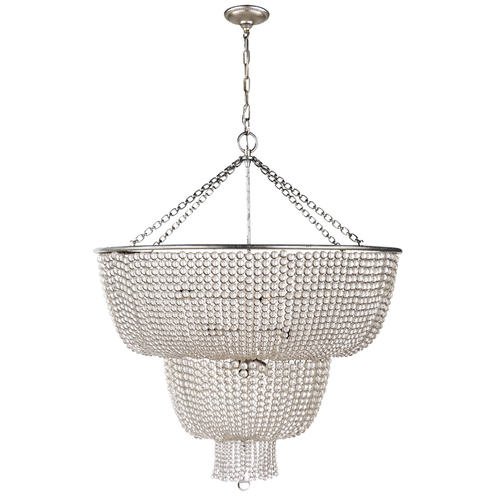 Jacqueline Two-Tier Chandelier - Burnished Silver Leaf/Clear Glass