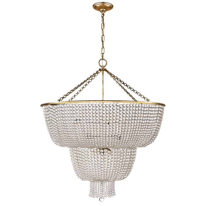 Jacqueline Two-Tier Chandelier - Hand-Rubbed Antique Brass/Clear Glass