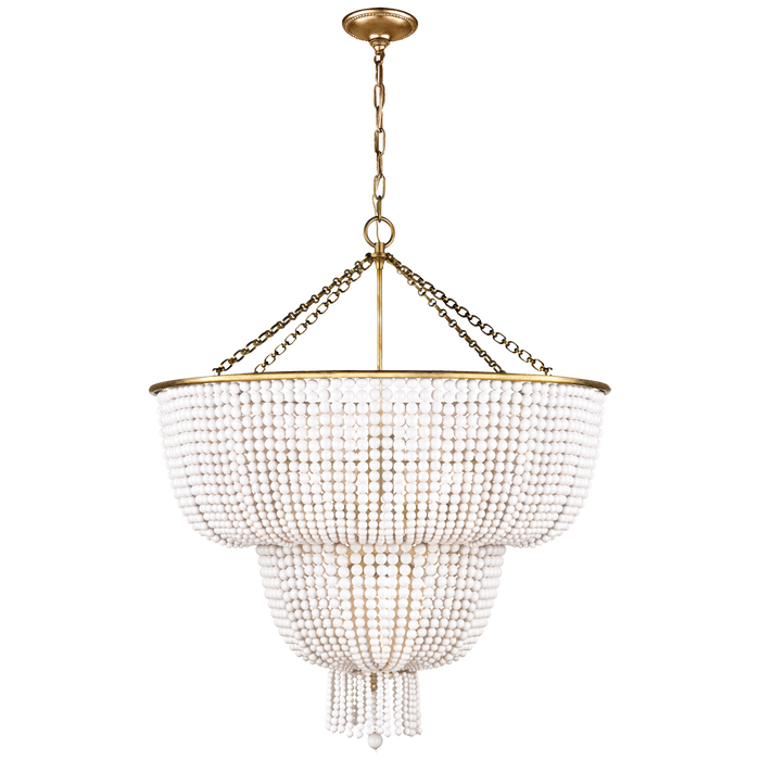 Jacqueline Two-Tier Chandelier - Hand-Rubbed Antique Brass/White Acrylic