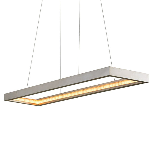 Jasmine LED Rectangular Frame Linear Pendant - Silver Leaf