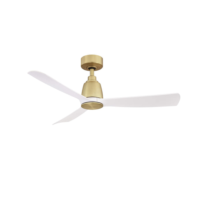 "Kute 44"" Ceiling Fan - Brushed Satin Brass Finish with Matte White Blades"
