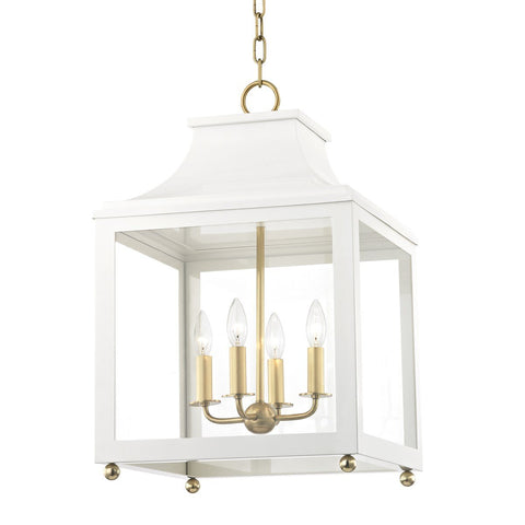 "LEIGH 16"" PENDANT Aged Brass/White"