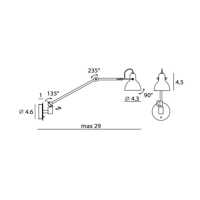 Laito Gentle Swing Arm Wall Sconce - Diagram