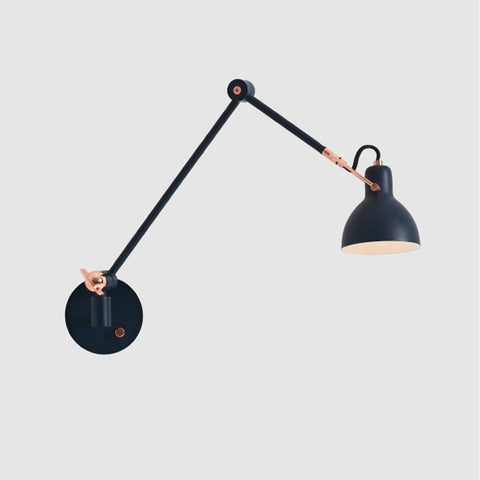 Laito Gentle Swing Arm Wall Sconce - Navy Blue/Copper Finish