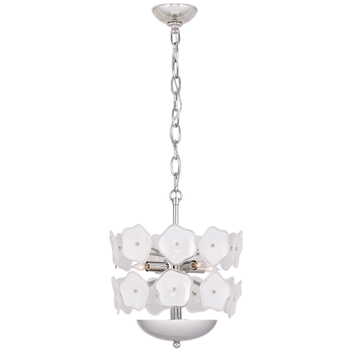Leighton Small Chandelier - Polished Nickel/Cream