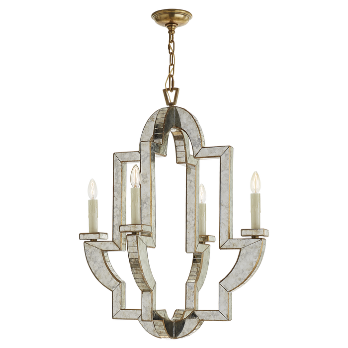 Lido Medium Chandelier - Antique Mirror and Hand-Rubbed Antique Brass