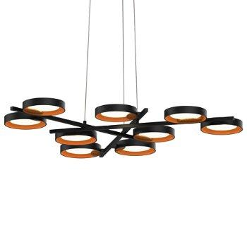 Light Guide Ring 9-Light Chandelier Black Apricot