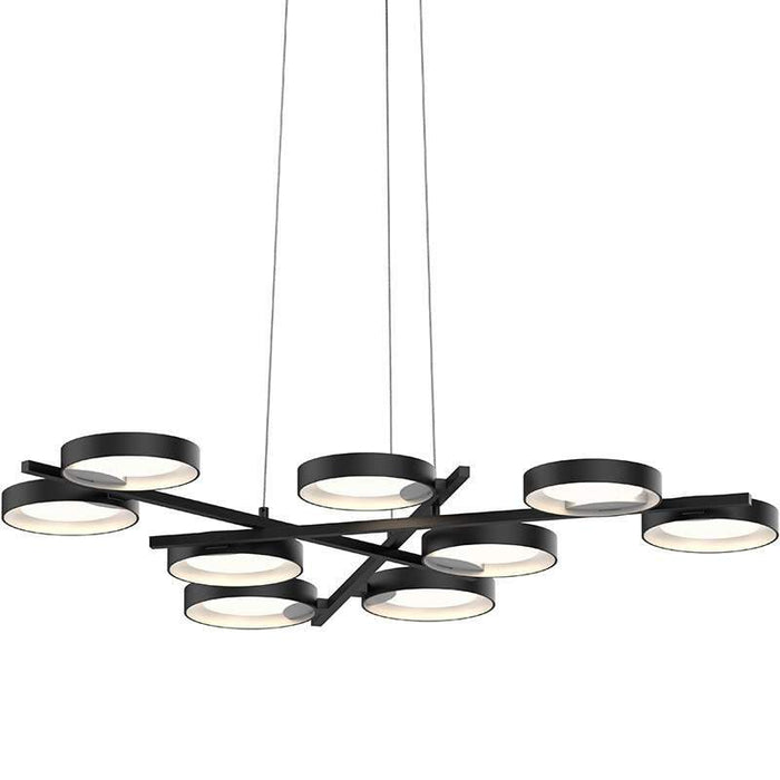Light Guide Ring 9-Light Chandelier - Black / Satin White