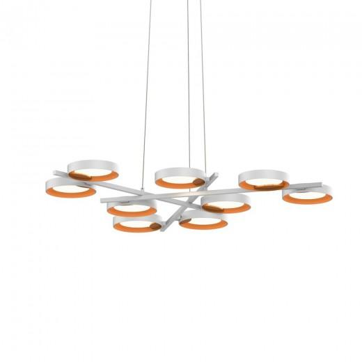 Light Guide Ring 9-Light Chandelier - Satin White/Apricot