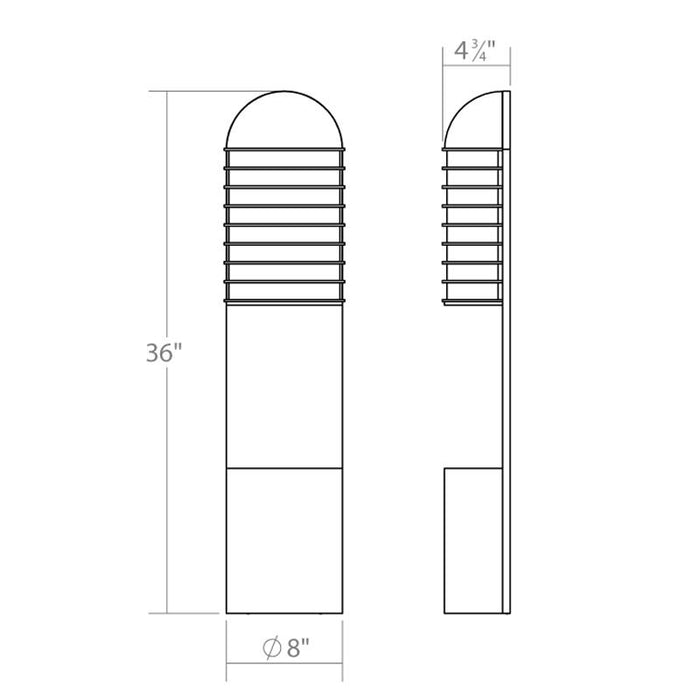 Lighthouse LED Outdoor Planter Wall Sconce - Diagram