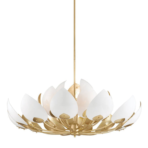 Lotus Large Chandelier - White/Gold Leaf