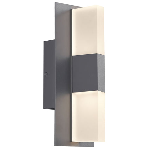 "Lyft 12"" Frosted Lens Outdoor LED Wall Sconce - Charcoal Finish"