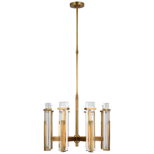 Malik Medium Chandelier - Hand-Rubbed Antique Brass Finish with Crystal Shade