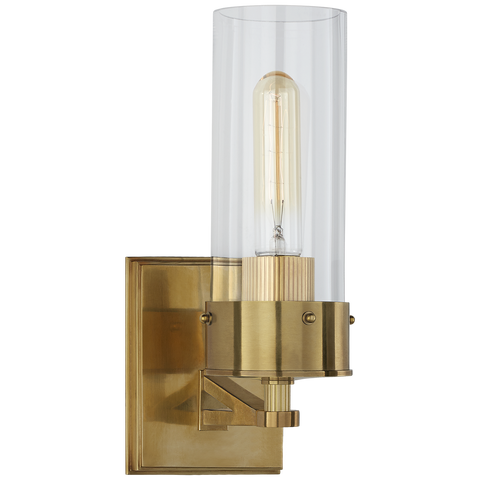 Marais Bath Sconce Antique Brass/Clear Glass