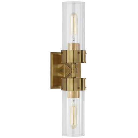 Marais Double Bath Sconce - Antique Brass/Clear Glass