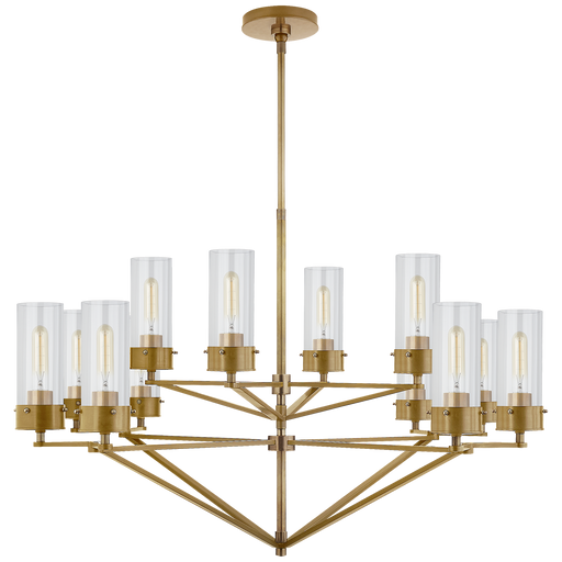 Marais Large Chandelier - Hand-Rubbed Antique Brass/ Clear Glass