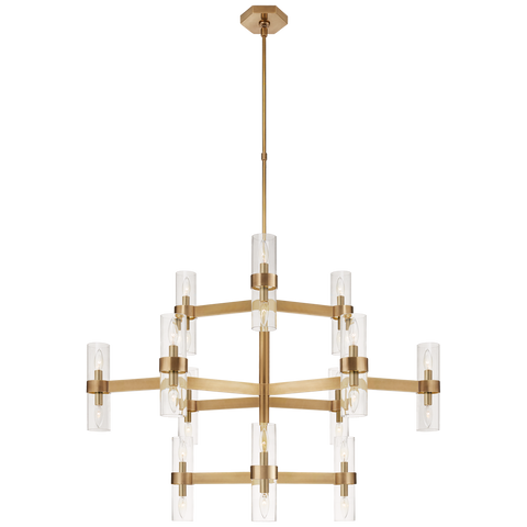 Margita Medium Chandelier - Hand Rubbed Antique Brass/Clear Glass