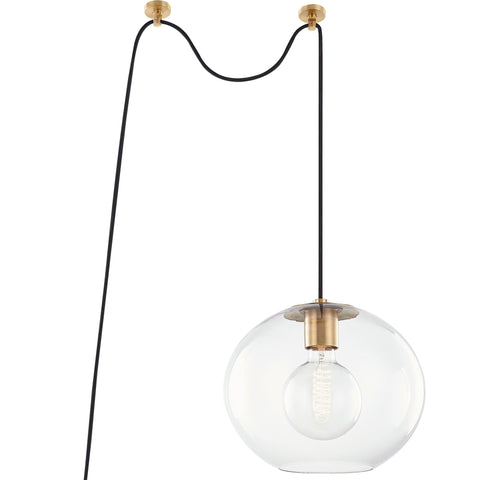Margot Plug-In Pendant - Aged Brass (Large)