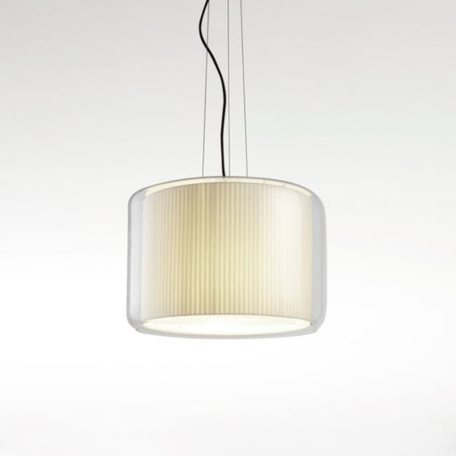 Mercer Suspension Light - Pleated White Cotton
