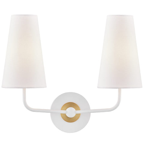 Merri 2 Light Wall Sconce - White/Aged Brass